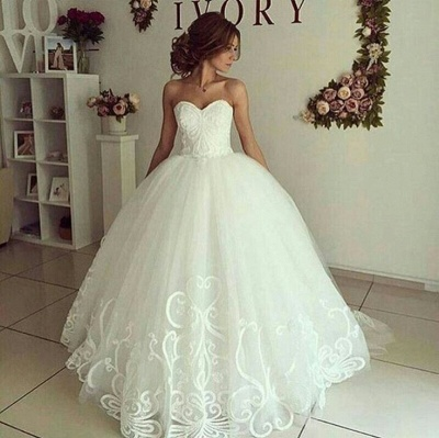 Elegant Sweetheart Bride Dress Ball Gown Lace Appliques Wedding Dresses_3
