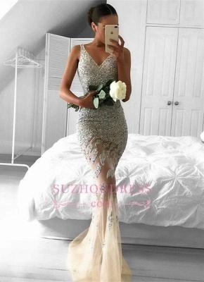 Straps Gorgeous Sheer Sleeveless Beads Tulle Mermaid Evening Dress_3