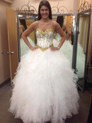 Sweetheart Crystal Tulle Bridal Gowns Floor Length Lace Up Wedding Dresses_1
