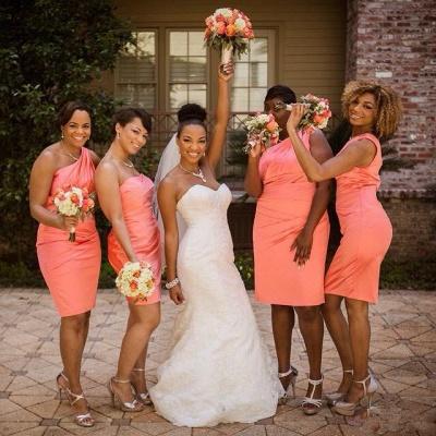 Elegant  One Shoulder Orange Wedding Dress Sheath Knee Length Popular Ruffles Simple Bridesmaid Dresses_2