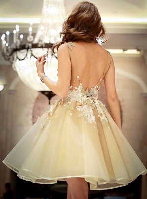 Gorgeous A-Line Flowers Homecoming Dresses  | Sleeveless Open Back Short Hoco Dress_3