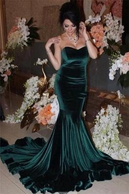 Strapless Dark Green Velvet Evening Dress Sexy Mermaid Open Back Elegant Prom Dress_1