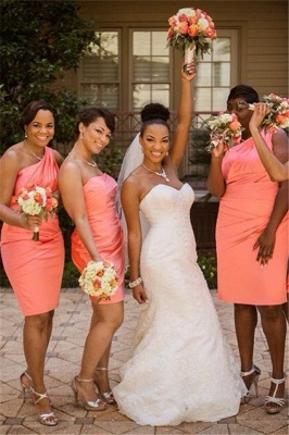 Elegant  One Shoulder Orange Wedding Dress Sheath Knee Length Popular Ruffles Simple Bridesmaid Dresses_1