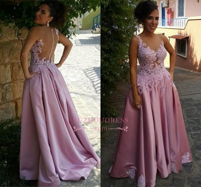 Buttons Sleeveless Appliques Pink A-Line Delicate Prom Dress_1