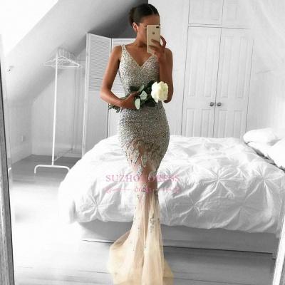 Straps Gorgeous Sheer Sleeveless Beads Tulle Mermaid Evening Dress_1