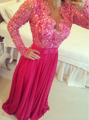 Fushia Long Sleeve Chiffon Prom Dress with Beadings Latest Bowknot Lace Formal Occasion Dress BMT032_3