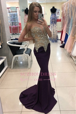 Sexy Sleeveless Appliques Prom Dresses  | Mermaid Evening Dresses with Beadings_1