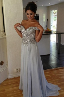 Off The Shoulder Silver Beaded Sequins Evening Dress Chiffon A-line  Prom Dresses_2