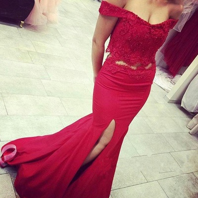 Off-the-shoulder Two Piece Prom Dress Mermaid  Evening Gowns with Slit_2