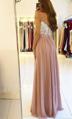 Spaghetti Straps Pink Prom Dresses  | Open Back Lace Chiffon Slit Formal Evening Gown BA9633_4