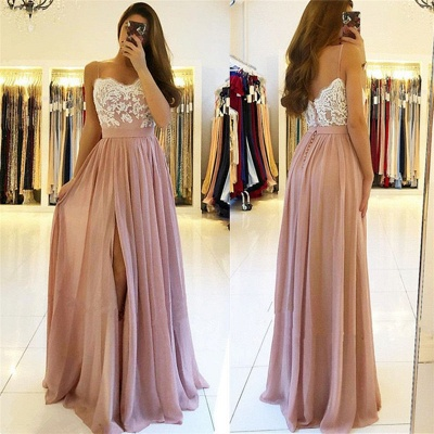 Spaghetti Straps Pink Prom Dresses  | Open Back Lace Chiffon Slit Formal Evening Gown BA9633_3