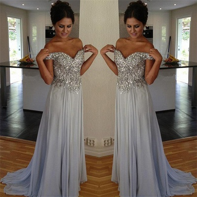 Off The Shoulder Silver Beaded Sequins Evening Dress Chiffon A-line  Prom Dresses_4
