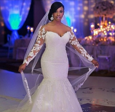 Sexy Mermaid Lace long Sleeve Plus Size Wedding Dress  High Quality Bridal Gowns_4