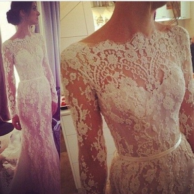 Gorgeous Long Sleeve Mermaid Wedding Dress Latest Lace Applique Custom Made Bridal Gown_1