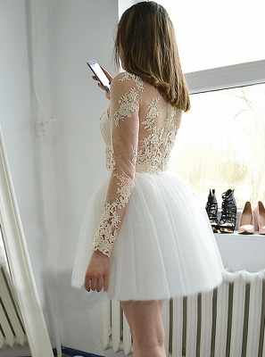 Glamorous Short Long Sleeves Homecoming Dresses | Champagne Appliques A-Line Hoco Dress_4