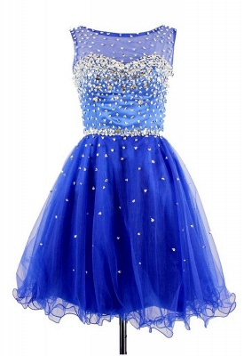 Elegant Crystal Royal Blue Short Cocktail Dress Sparkly Organza Beadings Mini Homecoming Dresses CJ0456_1