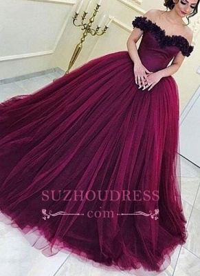Long Ball Gown Off-the-Shoulder Tulle Sleeveless Evening Gowns  Appliques Prom Dresses_2