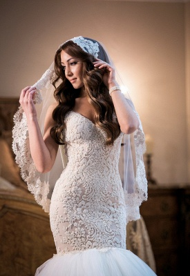 Luxurious Mermaid  Wedding Dress Lace Sweetheart Sexy Bridal Gowns with Soft Tulle_3