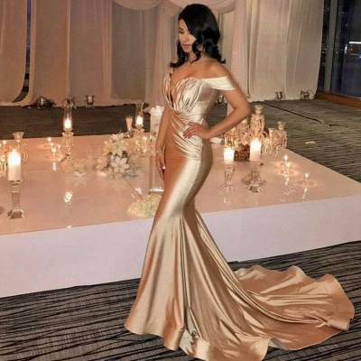 Off The Shoulder Champagne Gold Sexy Prom Dresses  Mermaid Lates Popular Evening Gown FB0183_3