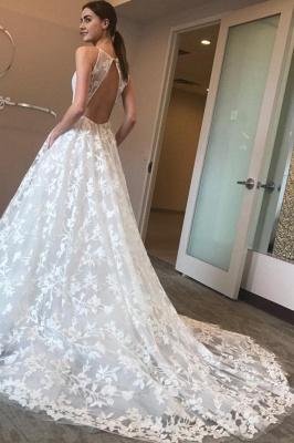 Elegant V-Neck Lace A-line Wedding Dresses | Spaghetti Straps Sleeveless Bridal Gowns_4