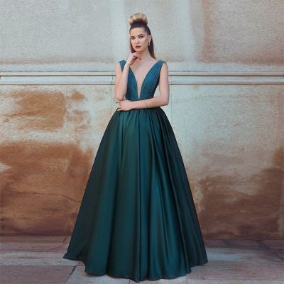 Dark Green A-Line Deep V-Neck Prom Dresses  Ruffles Sleeveless Evening Gowns SK0037_3