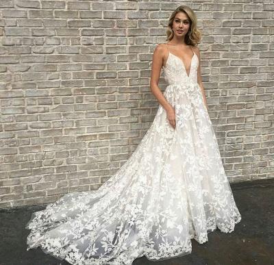 Elegant V-Neck Lace A-line Wedding Dresses   Spaghetti Straps Sleeveless Bridal Gowns_3