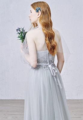 Elegant Sweetheart Grey Tulle Prom Dress New Arrival Floor Length Zipper Formal Occasion Dresses_4