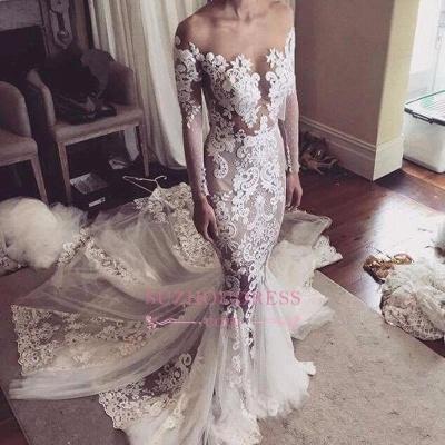 Glamorous Tulle Sexy Appliques Mermaid Long-Sleeves Wedding Dress_1