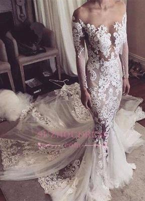 Glamorous Tulle Sexy Appliques Mermaid Long-Sleeves Wedding Dress_2