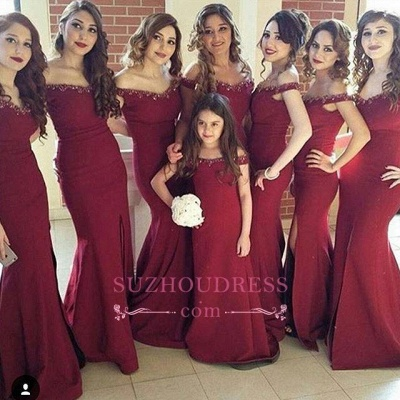 Crystal Side-Slit Simple Mermaid Off-the-Shoulder Bridesmaid Dress_1