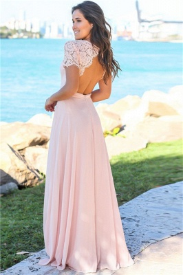 Sexy Open Back Pink Bridesmaid Dresses Cheap | Chiffon Short Lace Sleeves Formal Evening Dresses_3