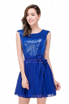 Short Sleeveless Sequins Elegant Chiffon Homecoming Dress_2