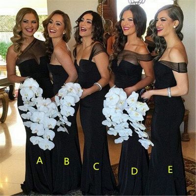 Sexy Sheath Black  Bridesmaid Dresses Long Sheer Tulle Wedding Party Dresses_1