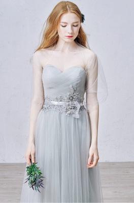 Elegant Sweetheart Grey Tulle Prom Dress New Arrival Floor Length Zipper Formal Occasion Dresses_1
