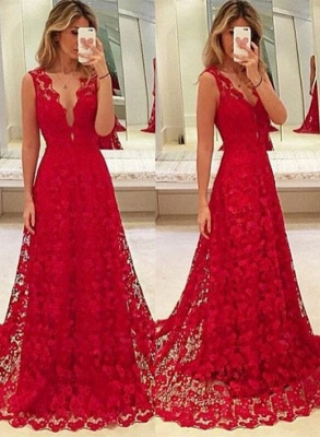 A-Line Red V-Neck Lace  Prom Dresses Latest Sweep Train Evening Gowns BA3843_1