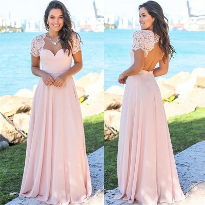 Sexy Open Back Pink Bridesmaid Dresses Cheap | Chiffon Short Lace Sleeves Formal Evening Dresses_4