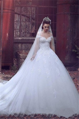 Off The Shoulder Princess Wedding Dress Ball Gown Lace Bride Dresses with Long Train_1