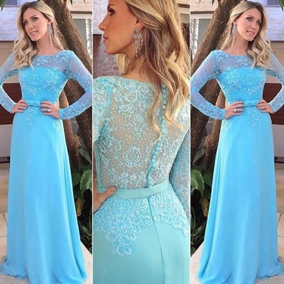 Blue Scoop Long Sleeve Evening Gowns Elegant Chiffon Lace Prom Dresses_3