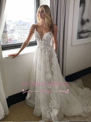 Elegant Spaghetti Straps Tulle Wedding Dresses  Lace-Applique A-line Bridal Gowns_1