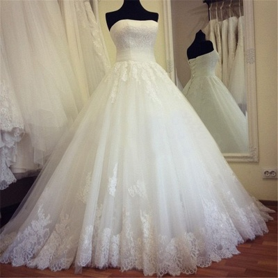 Strapless Lace Ball Gown Wedding Dress  Lace Up  Bridal Gowns_1