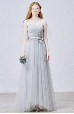 Elegant Sweetheart Grey Tulle Prom Dress New Arrival Floor Length Zipper Formal Occasion Dresses_2