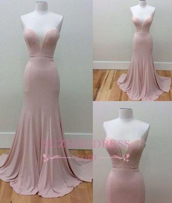 Sweetheart Neck Long Pink Formal Dress  Mermaid Simple Sleeveless Prom Dresses_1