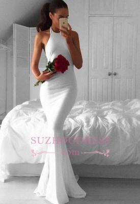 Sweep-Train Mermaid White Sexy Sleeveless Halter Prom Dress BA4918_3