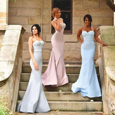 Zipper Sleeveless Spaghetti Strap  Dresses for Honor of Bride Elegant Mermaid Bridesmaid Dress_3