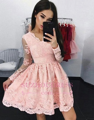 A-line V-neck Long-sleeves Pink Short Lace Cocktail Dress_1