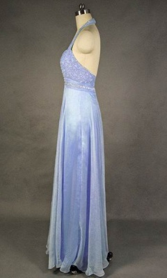 Latest Crystal Halter Chiffon Long Prom Dress with Beadings Popular Backless Plus Size Evening Dresses_2