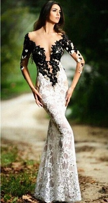 Sexy Black and White Evening Dresses Mermaid 3/4 Sleeve Lace Formal Dresses with Black Beads Bottom CJ0219_1