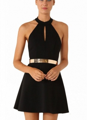 Sexy Mini Party Dress   Halter Open Back Cocktail Dress with Gold Belt_3