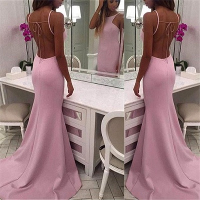 Pink Open Back Sexy Evening Dresses with Straps  Long Formal Dresses_3