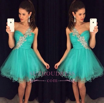 Appliques One-Shoulder Short A-Line Tulle Homecoming Dress   GA074 BA4710_1